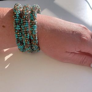 Beachy beaded bangles (set of 3)